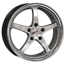 Llanta Parotech Demon 9.0x18 5x114.3 ET40 73.1 Plata borde acero inoxidable